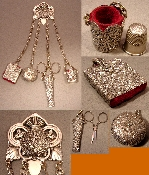 Chatelaine Silver Plated with Flower motif