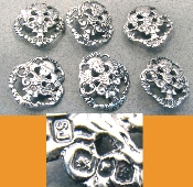 6 Sterling Silver Fancy Buttons - 1901