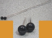 Pair of Black Marble Hat Pins