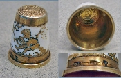 Silver/Gold Thimble with Enamel
