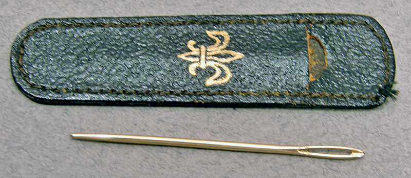 Antique Leather Cased Gold Crewel Embroidery Needle
